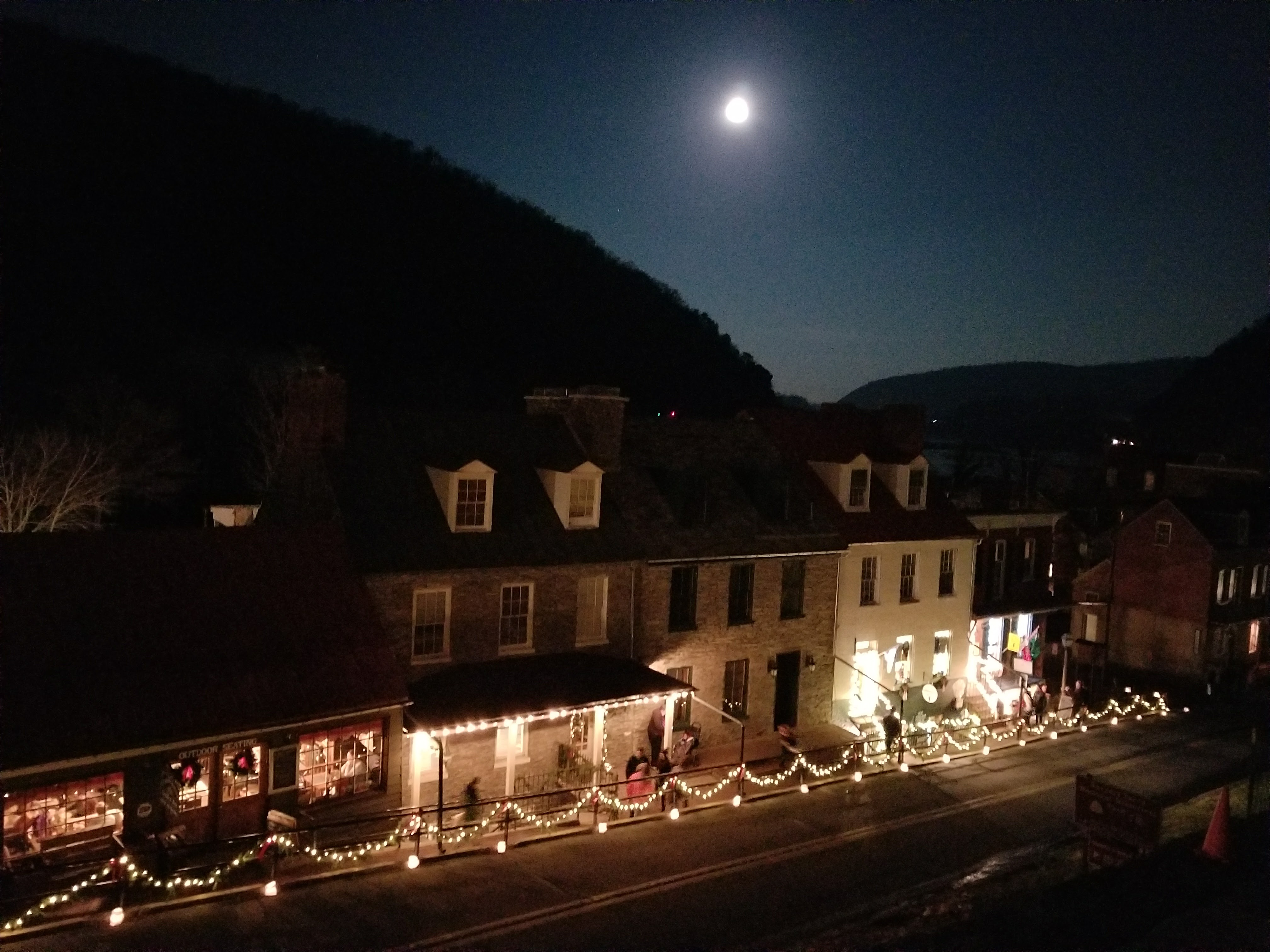 Harpers Ferry, Christmas, night, full moon
